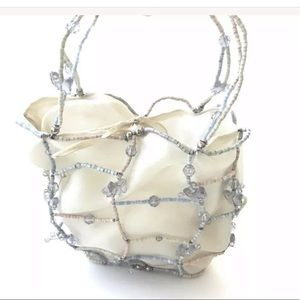 New Bottega Veneta Cream Mesh Evening Bag